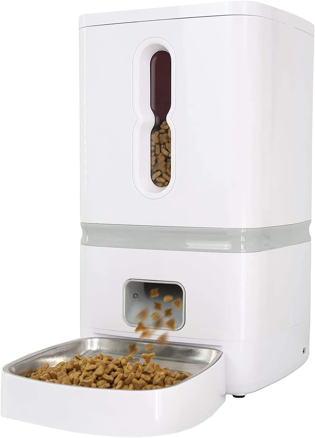 FIOVIEL Automatic Dog Feeder, 7L Pet Food Dispenser for Cats and Dogs, Cat and Dog Auto Timed Cat Feeder with 10s Voice Recorder, Up to 6 Meals with Portion Control, for Small Medium and Large Pets