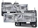 96 chevrolet silverado headlights - HEADLIGHTSDEPOT Chrome Housing Halogen Headlights Compatible with Chevrolet GMC Blazer C/K 1500 2500 3500 Suburban Tahoe Yukon Denali Includes Driver and Passenger Side Headlamps Comes with Bulbs