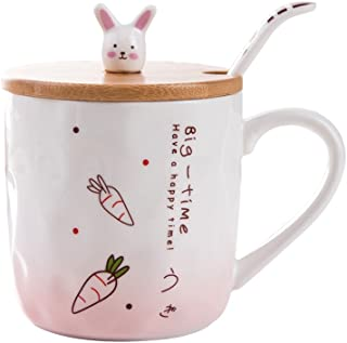 Cute Mug, Ceramic Bunny Coffee Mug with Lid and Spoon(12Oz), Novelty Rabbit Gifts for Bunny Lovers(Pink)