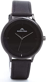 Formal watches for men, Marcopolo, black frame