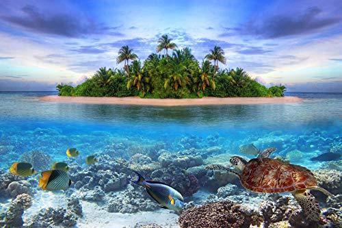 WSQYYY Puzzle da 1000 Pezzi in Legno Isola Tropicale Maldive dell'Acqua dei Pesci della Tartaruga Divertenti Giochi Educativi per Bambini della Famiglia Jigsaw Puzzle
