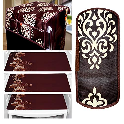 KANUSHI Industries® 1Pc Fridge Cover for Top with 6 Utility Pockets + 1 Handles Covers + 3 Fridge Mats (FT-BB-FL-COMBO-M-11)
