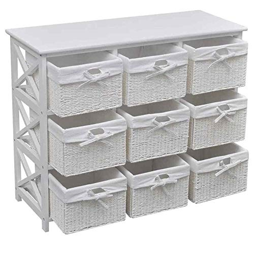 Storage Cabinet Drawer Woven Baskets Home Office Side Chest