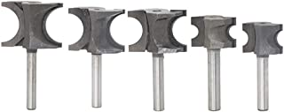 Eyech 5pcs Bullnose Router Bit Set 1/4-Inch Shank Half-round Bearing Router Bits Carbide Woodworking Cutter Tools