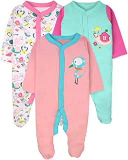 BOZEVON Baby Boys Girls Bodysuit 100% Cotton - Short/Long Sleeve Romper Sleepsuit Pajamas Set for Newborn 0-18 Months, Pack of 3/5