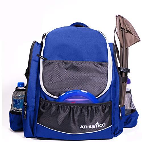 Athletico Power Shot Disc Golf Backpack   20+ Disc Capacity   Pro or Beginner Disc Golf Bag   Unisex Design (Blue)