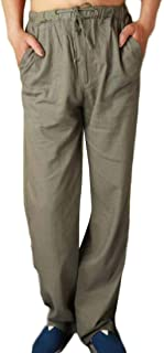 Men Casual Pants Trousers Linen Summer Pants with Drawstring