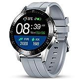 GOKOO Montre Connectée Homme Smartwatch Sport Cardiofréquencemètre Montre Intelligent Etanche Bracelet Connecté Tensiomètre Podomètre Chronometre Écran Tactile Fitness Tracker pour Android iOS (argent