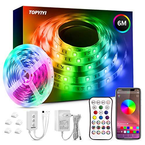 Tiras LED 6M RGB 5050 Música, TOPYIYI Bluetooth Luces de Tiras LED, luces led habitacion Controladas por APP, IR Control Remoto y Controlador, 16 Milliones de Colores, Modo de Horario para Hogar, Bar