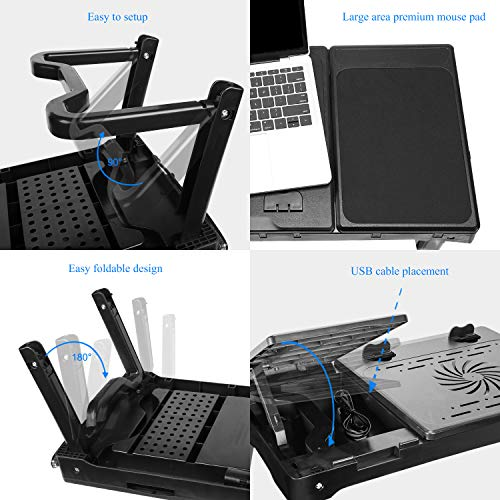 iMounTEK Multi-Functional Portable Laptop Table (Internal Cooling Pad, LED Desk Lamp, Built in 4 Port USB Hub, Lap Desk Stand, Mousepad, Comfortable, Bed/Couch/Chair Compatible) - Black
