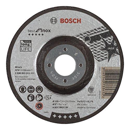 Bosch Professional Schruppscheibe gekröpft, Best für Inox A 30 V BF, 125 mm, 22,23 mm, 7 mm, 2608603511