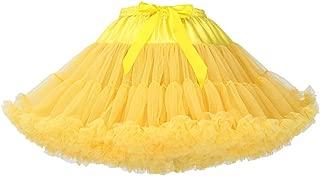 AMLLY Women's Vintage 1950s Three Layers Tulle Tutu Skirt Petticoat Crinoline Underskirt Ballet Rockabilly Yellow