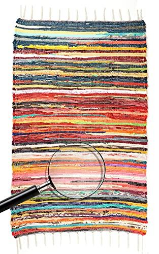 Flickenteppich, Fleckerlteppich, Webteppich, 80 x 120 cm, Kelim Teppich mit Fransen, Wohnzimmer Teppich bunt, Teppich Baumwolle & Polyester...