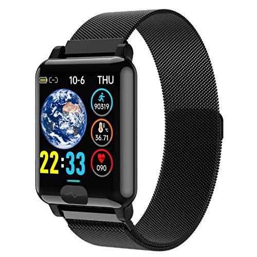 Wsaman Actividad Pulsera Smartwatch Fitness Tracker con 1.3 Inch Pantalla Táctil Sueño Podómetro Calorías Pulsera Deporte Actividad Relojes Deportivos, para Android/iOS/Hombre/Mujer,Metálico