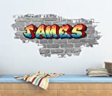 Diseño de grafiti de ladrillos personalizable y texto adhesivo decorativo para pared 95 cm (W) x 46 cm (H), tr34b/W