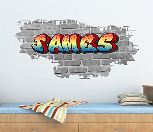 Various Brick, Graffiti-Stil, Personalisierbar mit eigenem Namen &Wandtattoo 95 cm x 46 cm (H?he), TR34b/w
