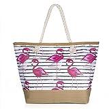 Vordas Strandtasche mit Reißverschluss XXL, Strandtasche XXL mit Reißverschluss und Innentasche...