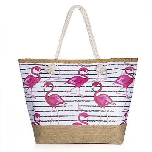 Vordas Strandtasche mit Reißverschluss XXL, Strandtasche XXL mit Reißverschluss und Innentasche für Reise, Kaufen, Ausflug usw. (Style 14)