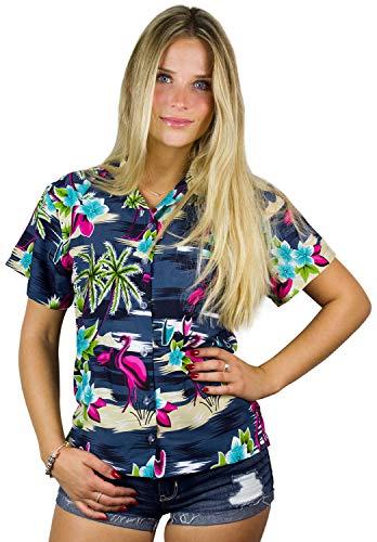 King Kameha Funky Hawaiibluse, Hawaiihemd, Kurzarm, Flamingos Old, Graublau, L