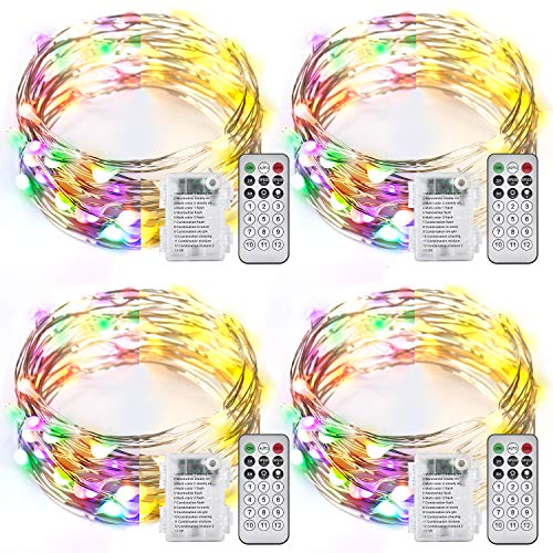 Ariceleo 4 Packs Warm White & Multi-Color Battery Operated String Lights, 5M/16.4ft. 50 LEDs Remote Control Timer 12 Modes Optional Twinkle Battery Powered Fairy Lights Sliver Wire Firefly Lights