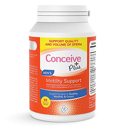 Conceive Plus Motility Support - Zinc, Ginseng, Abhwagandha, Q10, Antioxidants - Boost Sperm Count, Quality Sperm Volume, 60 Vegetarian Soft Capsules