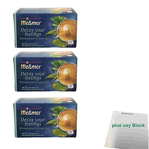 Meßmer detox your feelings Brennnessel Grüner Tee 20 Teebeutel 3er Pack (3x 40g Packung) + usy Block