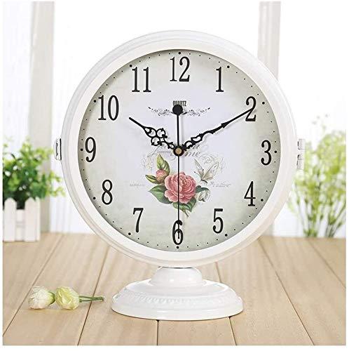 Relojes de moda Párese del escritorio del reloj mudo moderno minimalista de doble cara de reloj de escritorio reloj de escritorio Sala de estar creativa europea del reloj de péndulo del reloj del escr