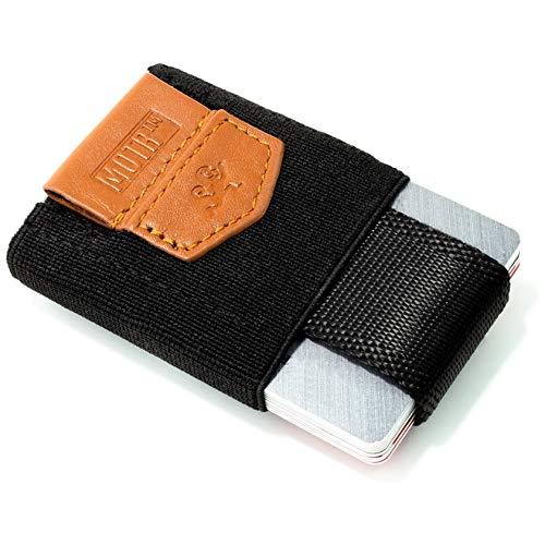 Premium Slim Wallet mit Zugband & Münzfach - Das dehnbare Kartenetui & Mini Portemonnaie aus Textil - Karten, Scheine & Münzen - Kleine Geldbörse, Mini Kreditkarten Etuis, Flaches Portemonnaie (black)