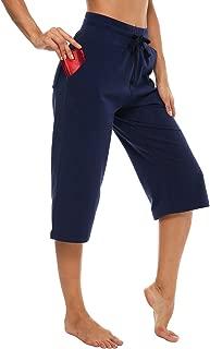Women's Cotton Bermuda Capri Pants Straight Leg Activewear Running Workout 3/4 Crop Yoga Lounge Capri Pants