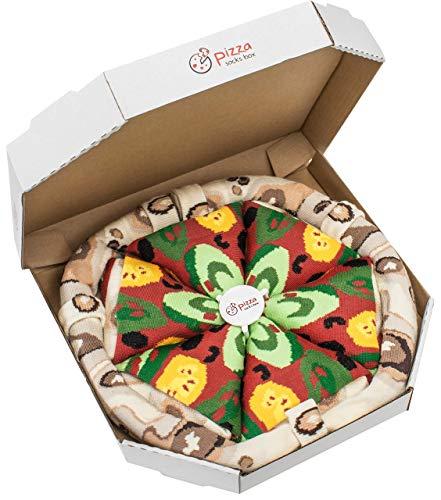 4 pares de CALCETINES Divertidos de ALGADON Pizza Vegetariana PIZZA SOCKS BOX Unicos y Originales Idea de REGALO  para Mujer y Hombre: Tama/ños 36-40 y 41-46 Fabricado en EU