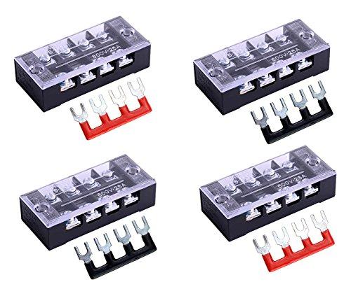 SamIdea 8pcs/ 4 Sets 4 Positions Dual Row 600V 25A Screw Pure Copper Terminal Strip Blocks with Cover + 400V 25A 4 Positions Pre-Insulated Terminal Barrier Strip