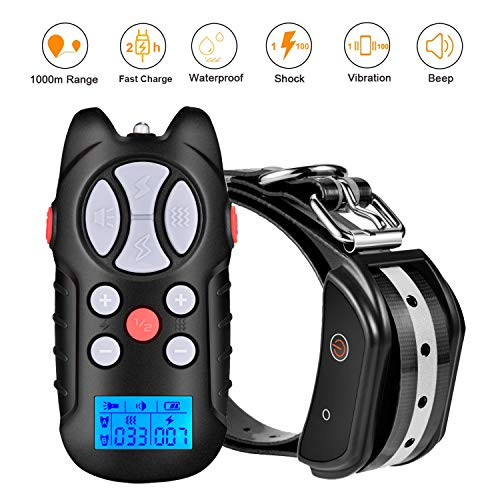 Havenfly Dog Shock Training Collar with Remote Long Range 3300ft Electric Dog Collar Waterproof Anti Barking Dog Collar Rechargeable Pet Trainer Collar with Warning Tones, Vibration,Shock