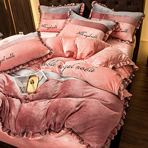 Shinon duvet cover sets,Winter thick warm double-sided flannel duvet cover single double bed single bed sheet bedding set-L_2.0m bed (4 pieces)