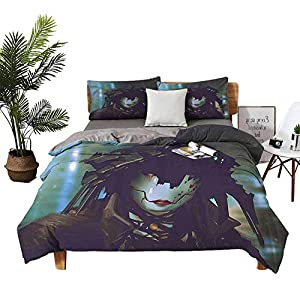 Silk Flower Arrangements DRAGON VINES Four-Piece Bedding Silk Sheets Bed Sheets Set Flower Garden with Open Sky and Vintage Cosmos Plant Art Photo Sky Blue and Dark Coral Boy Girl Kid W104 xL90
