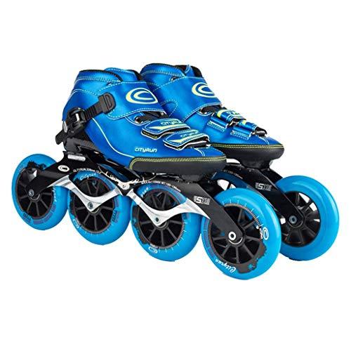 Taoke Roller Skates, Schlittschuhe, Profi-Eisschnelllauf Schuhe, Rennschuhe, Carbon-Faser-Thermoplastisches großen Kuchen Skates for Kinder Roller Skates (Farbe: Blau, Größe: 33) dongdong