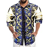 CFWL Camisa De Manga Larga Para Hombre Camisa De Solapa Delgada Con ImpresióN Digital 3d Informal De Moda Vaquera Para Hombre Cuero SintéTico TransicióN Acanalada Moda Casuales Azul Xl