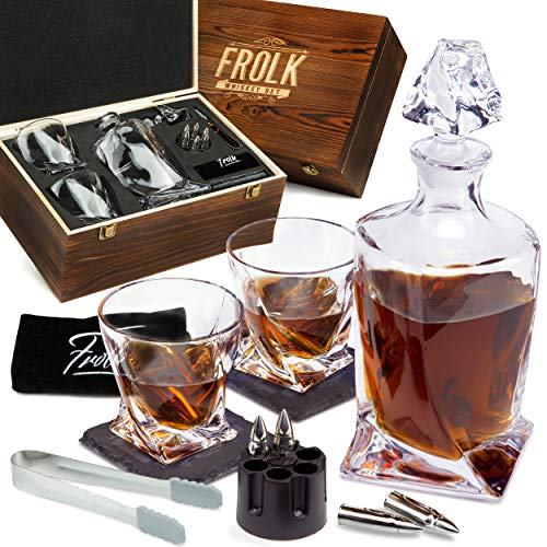 Whiskey Set for Men & Women - Whiskey Decanter, 2 Twist Whiskey Glasses, 6 XL Stainless Steel Whisky Bullets, Freezer Base, 2 Coasters,Tongs & Freezer Pouch in Pinewood Box