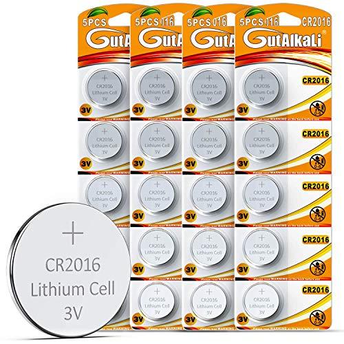 GutAlkaLi 20 Stück CR2016 3V Lithium Knopfzellen CR 2016 Batterien