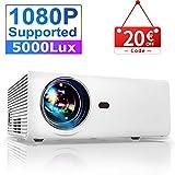 Vidéoprojecteur, YABER 5000 Lumens Mini Projecteur Soutien 1080P Full HD Rétroprojecteur Portable Vidéo Native 1280*720P Multimédia Home Cinéma Compatible Chromecast /USB /VGA /HDMI /AV
