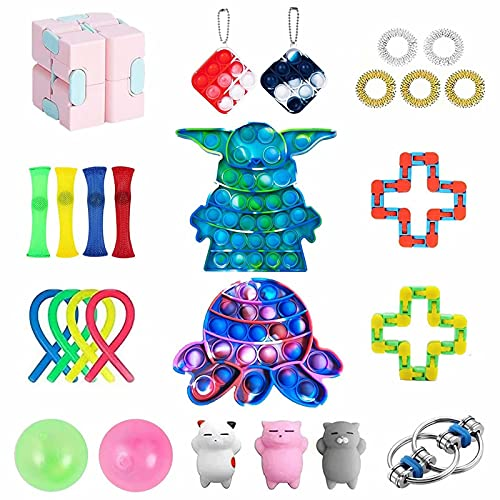 ZNNCO 26 Pack Sensory Fidget Toys Set,Stress Relief Pop Fidget Pack Toys for Focus & Calm,for Adults Kids ADHD ADD Anxiety Autism