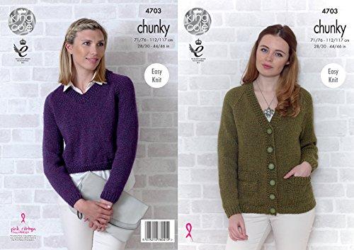 King Cole Womens Chunky Knitting Pattern Ladies Easy Knit Raglan Sleeve Cardigan & Sweater (4703)