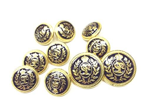 DE LIGUORO Juego de 10 botones para hombre Blazer Grifone azul y dorado, 2,5 cm