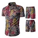 Kaister Men's Short Pants Printing Jumpsuit Suit Summer New Comfortable Fashion Overalls Red