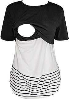 Womens Short Sleeve Nursing Tops Maternity Breastfeeding Shirts