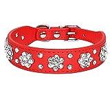 LSHMSN Collar De Perro De Diamantes De Imitación, Collar De Cuero De Perrito De Mascotas Ajustable para Pequeños Perros Medianos Gatos Accesorios para Mascotas,Rot,28~33cm