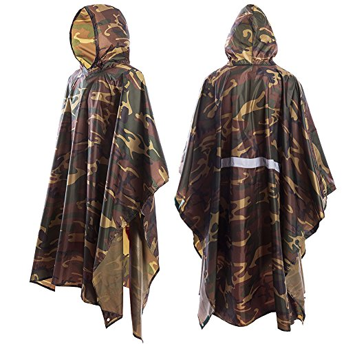 JTENG Rain Poncho, Waterproof Raincoat with Hoods for Concerts,Camping,Hiking,Cycling (Maple Leaf)