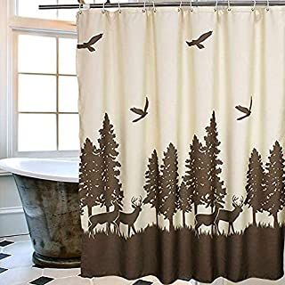 Uphome Deer in The Forest Shower Curtain, Beige and Coffee Country Vintage Moose Forest Hunting Waterproof Fabric Stall Shower Curtain Set with Hooks for Kids, 72 X 78 Inch