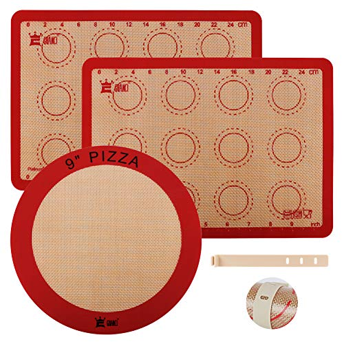 3 PCS Silicone Macaron Baking Mats,Reusable Nonstick Cooking Mat,Heat-Resistant Pastry Oven Liner Baking Mat for Food Safe for Macaroon/Cookie/Fondant/Pie/Bread/Pizza,Include 9'Round Pizza baking mat