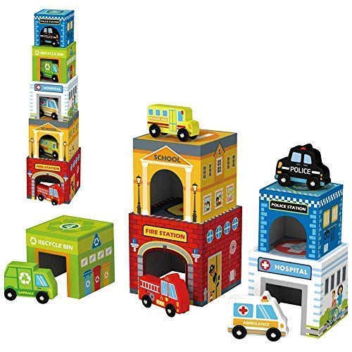 Image of Play Vehicles 5 Cars and Stack-able Garages for Toy Cars, Toys for 2 Year Old Boys and up