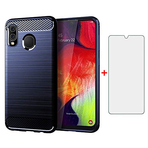 Phone Case for Samsung Galaxy A20e and Tempered Glass Screen Protector Film Cover with Mobile Bumper Accessories Slim Shockproof Soft Full Body Thin TPU Rugged Silicone Rubber 20e A20 e e20 Blue
